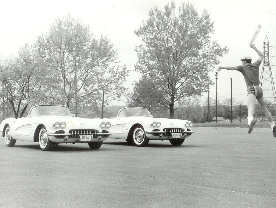 Author flagging-off two '59 Corvettes. The near Vette is driven by Jimmy Cohen - same character in Circa 1957